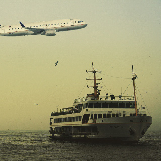 Steamship & Aircraft #sea #travel #sky #steamship #aircraft #manzara #sunset #turkeyphotooftheday #turkeystagram #Turkey #turk #istanbullovers #istanbul #instalike #instagram #followme #follow4follow  #tagsforlikes #tag #photo #instagood #like4like #cool #awesome #nature #day #water #light #amazing