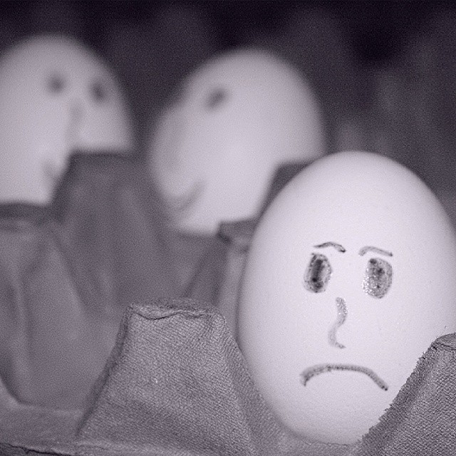 Sad Egg #egg #sad #white #eggs #instalike #instagram #followme #follow4follow  #like4like #tagsforlikes #photodays #image #photographer #photograph